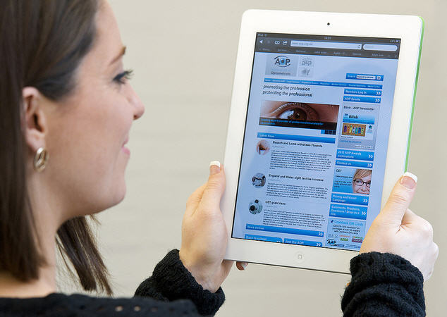 Blue Control using a tablet - photo from Optique, opticians in Battersea, London
